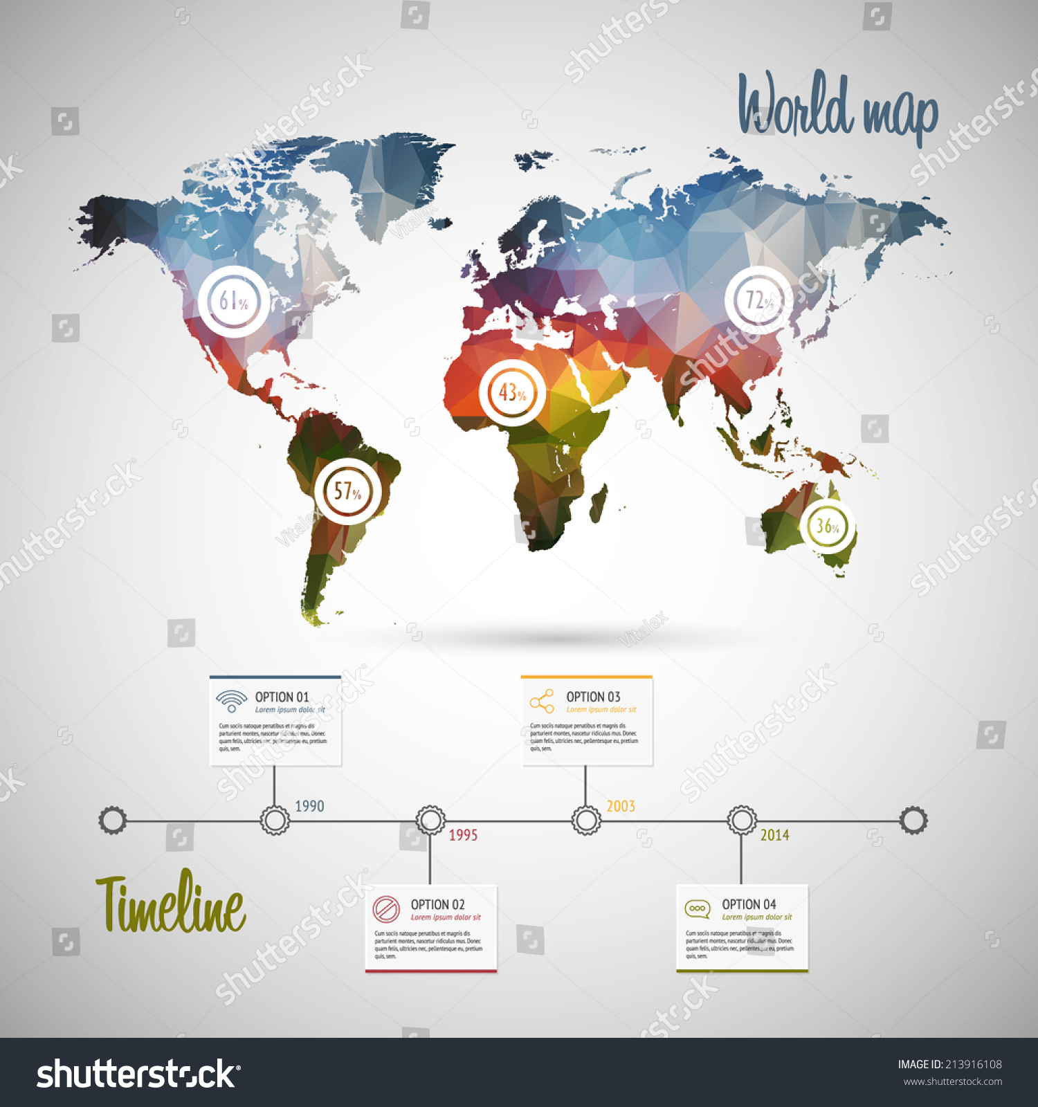 Royalty free world map infographic template showing 213916108 world map infographic template showing the demographic areas with proportionate percentages of statistics and modern timeline gumiabroncs Gallery