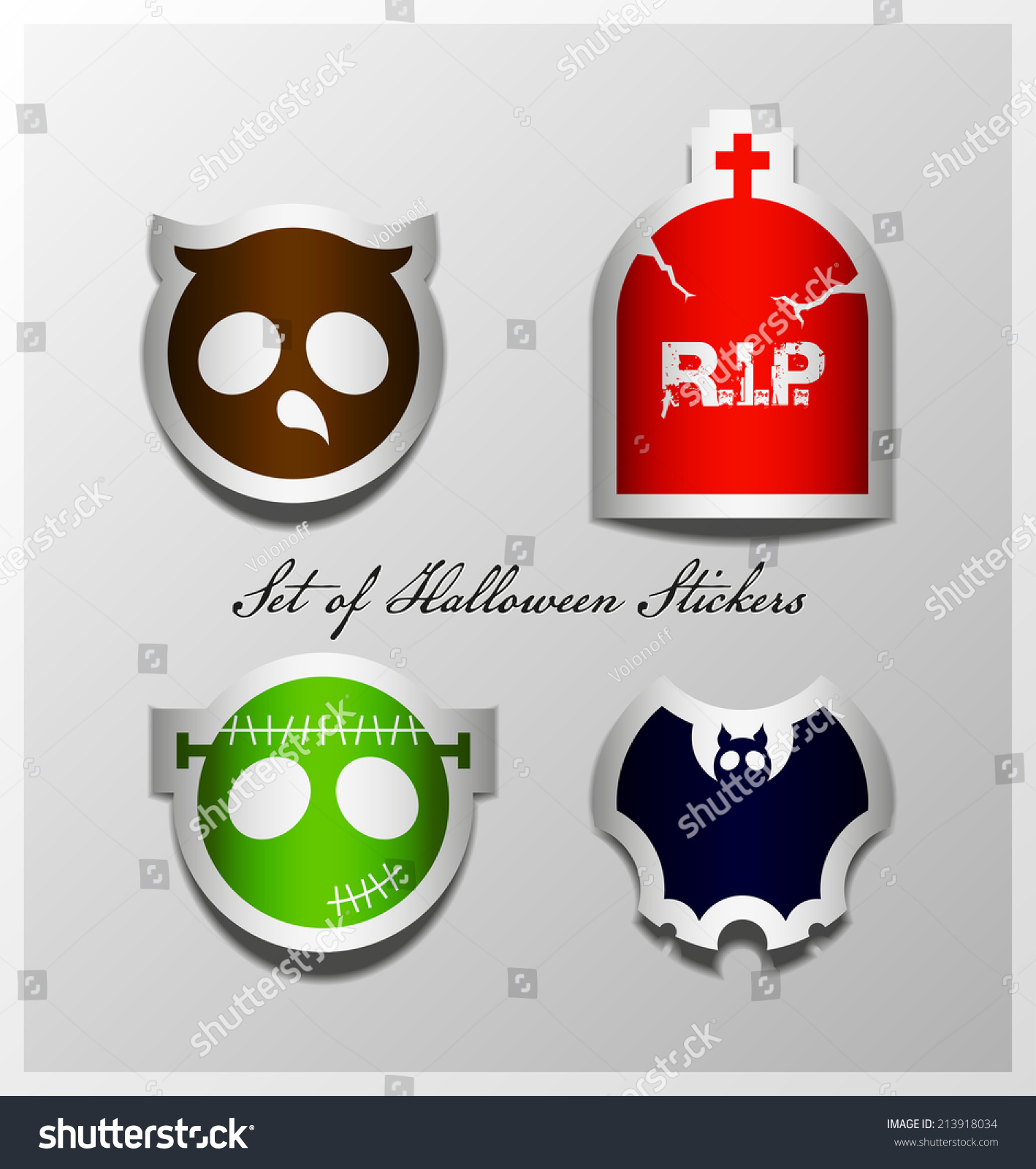 Halloween Sticker Symbols Owl Headstone Bat Stock Vector 213918034
