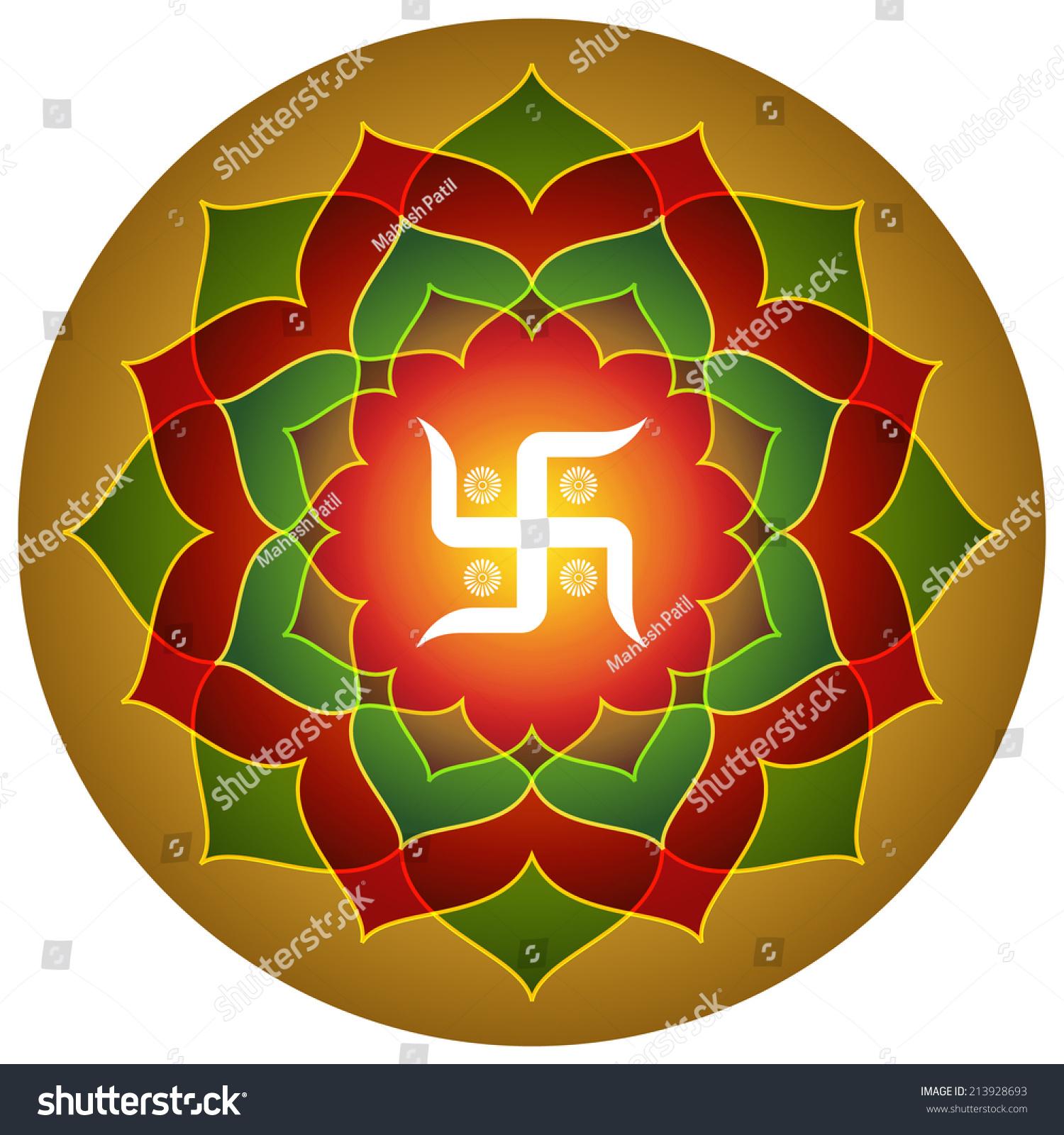 Hindu Symbol Swastika Lotus Design Stock Vector ...