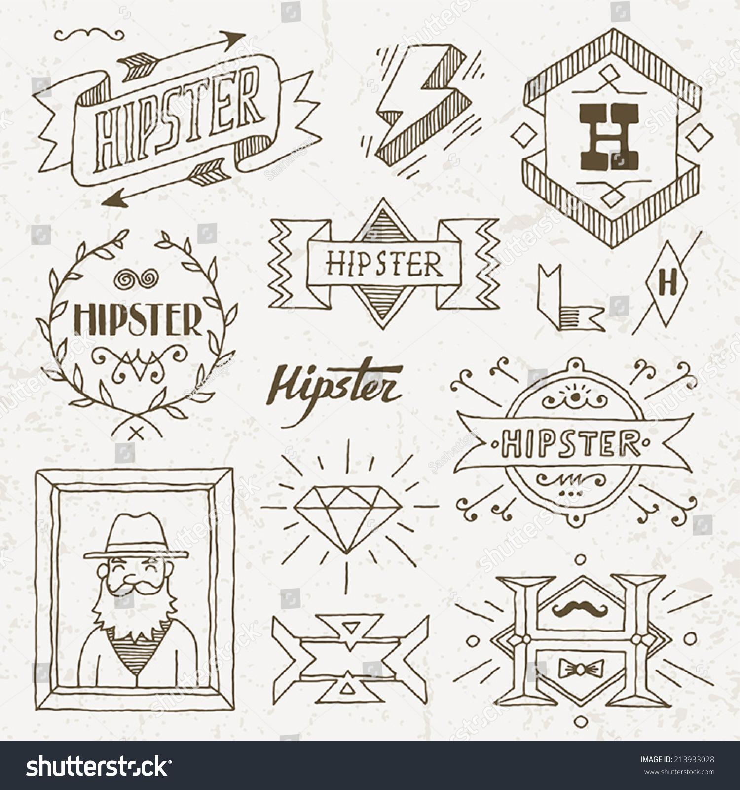 Vintage Hipster Hand Drawn Design Elements Set 8. Vector ...