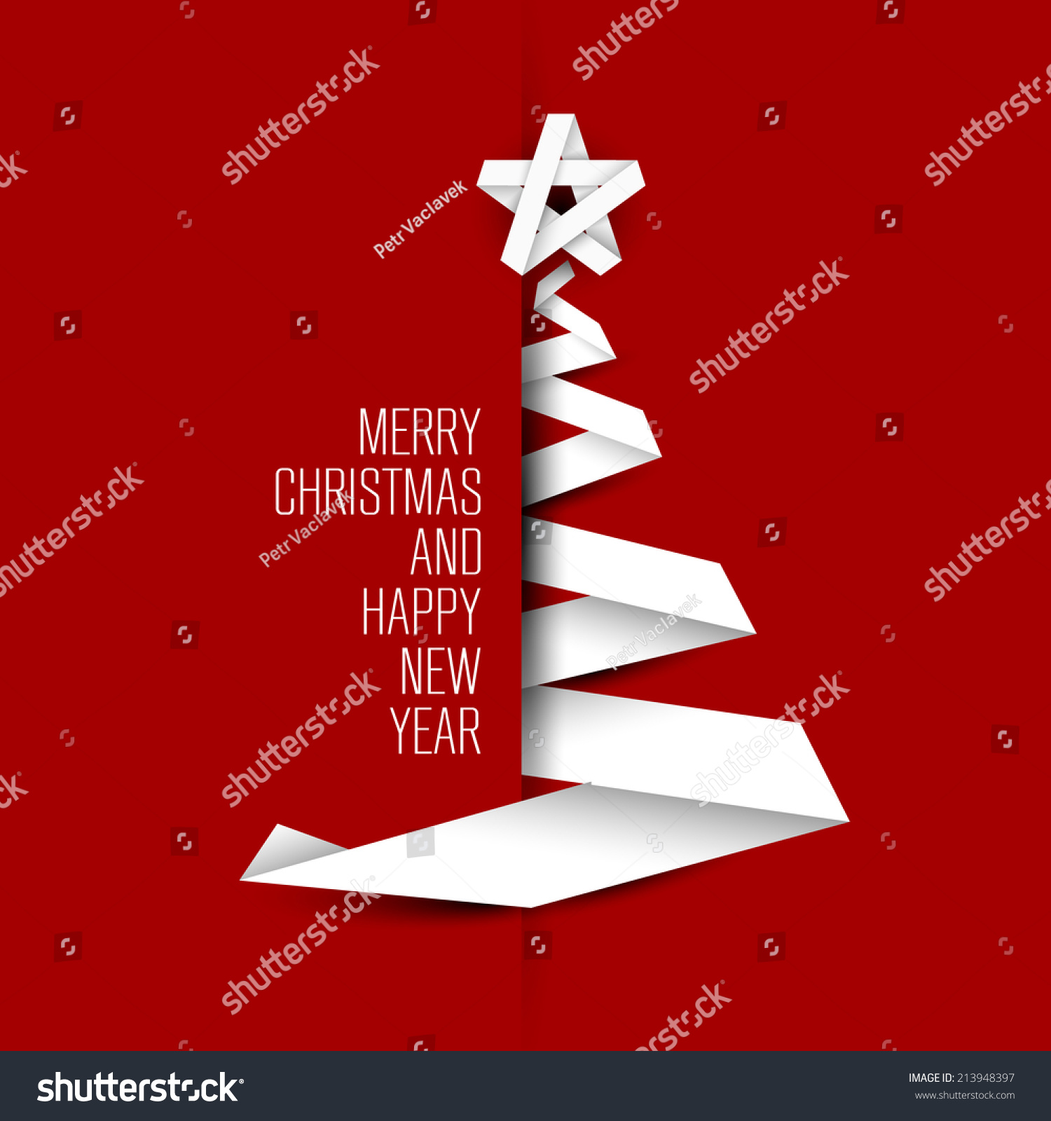 Easy Year To Travel On Christmas: Simple Vector Christmas Tree Made Paper Stock Vector