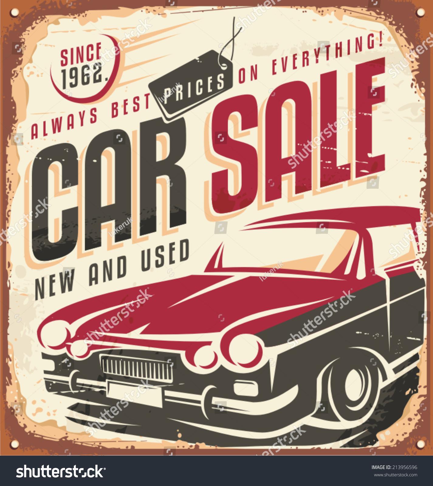 Car Sale Promotional Vintage Design Concept Stock Vector 213956596 ...