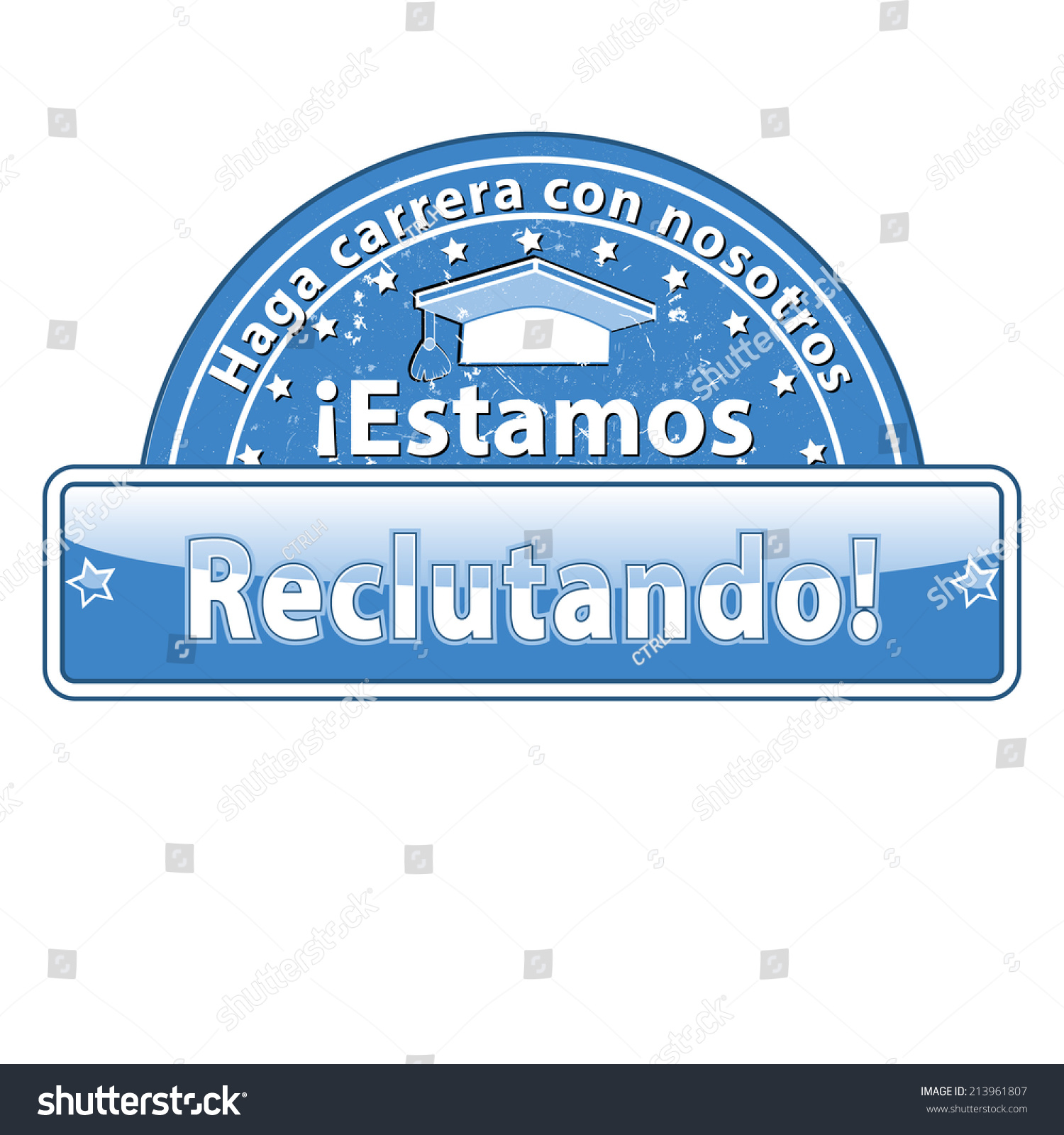 Blue Spanish Hiring Stamp Label Recruitment Stock Vector (Royalty