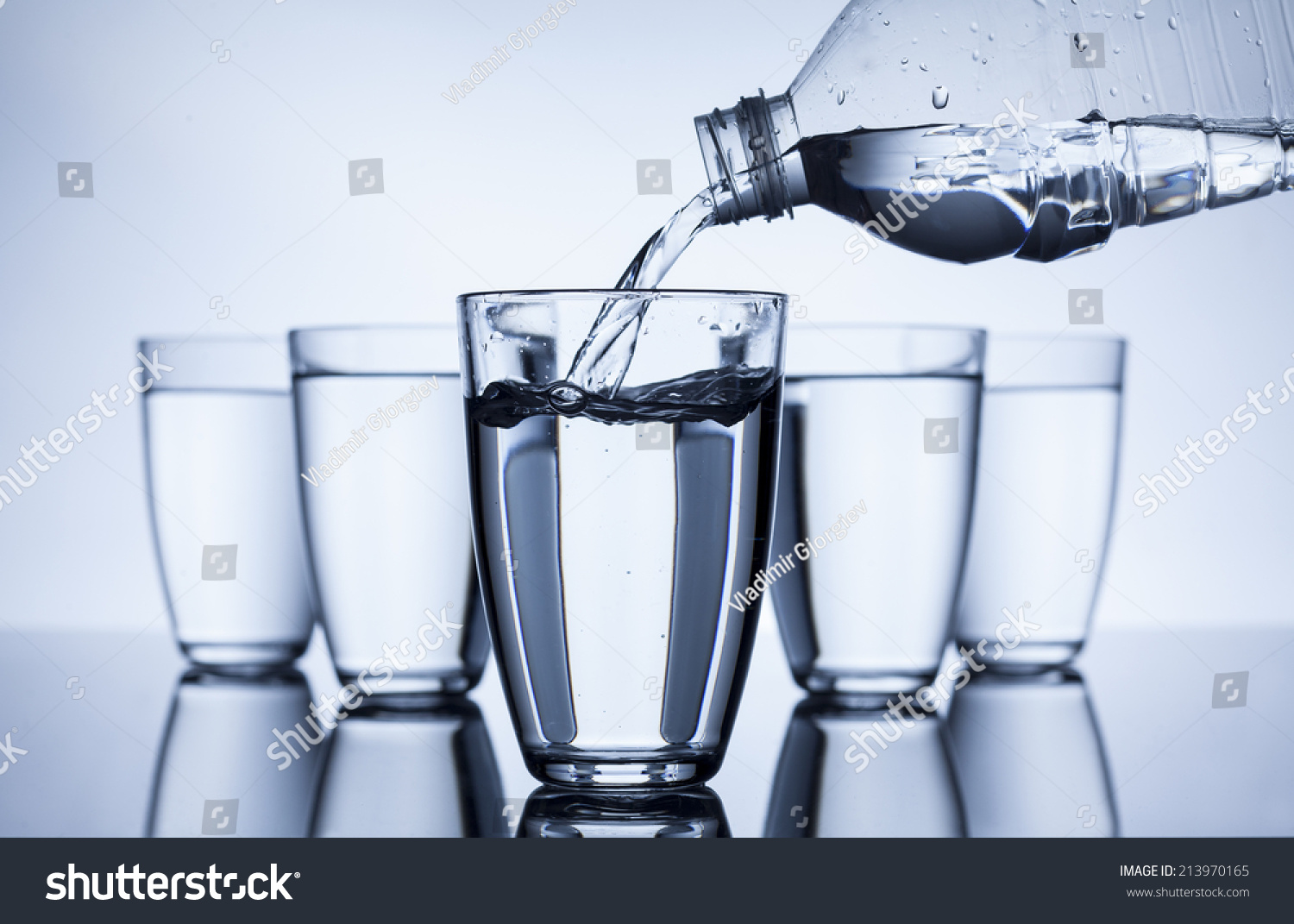 plastic bottle that fill water group stock photo 213970165