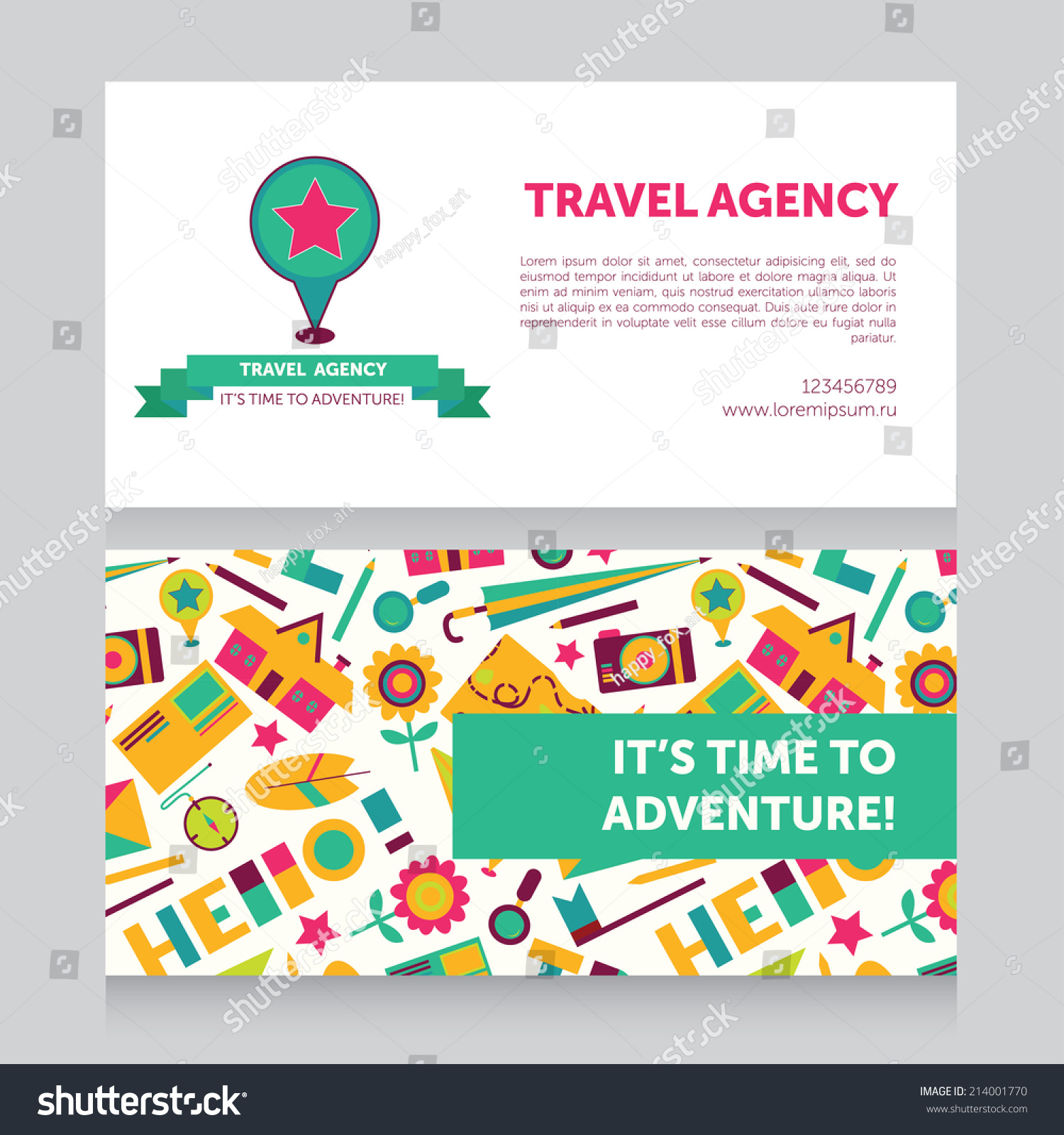 Design Template Travel Agency Business Card Stock Vector 214001770 ...