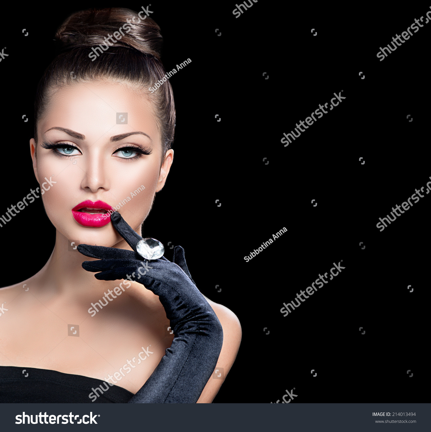 Beauty Glamur: Beauty Fashion Glamour Girl Portrait Over Stock Photo
