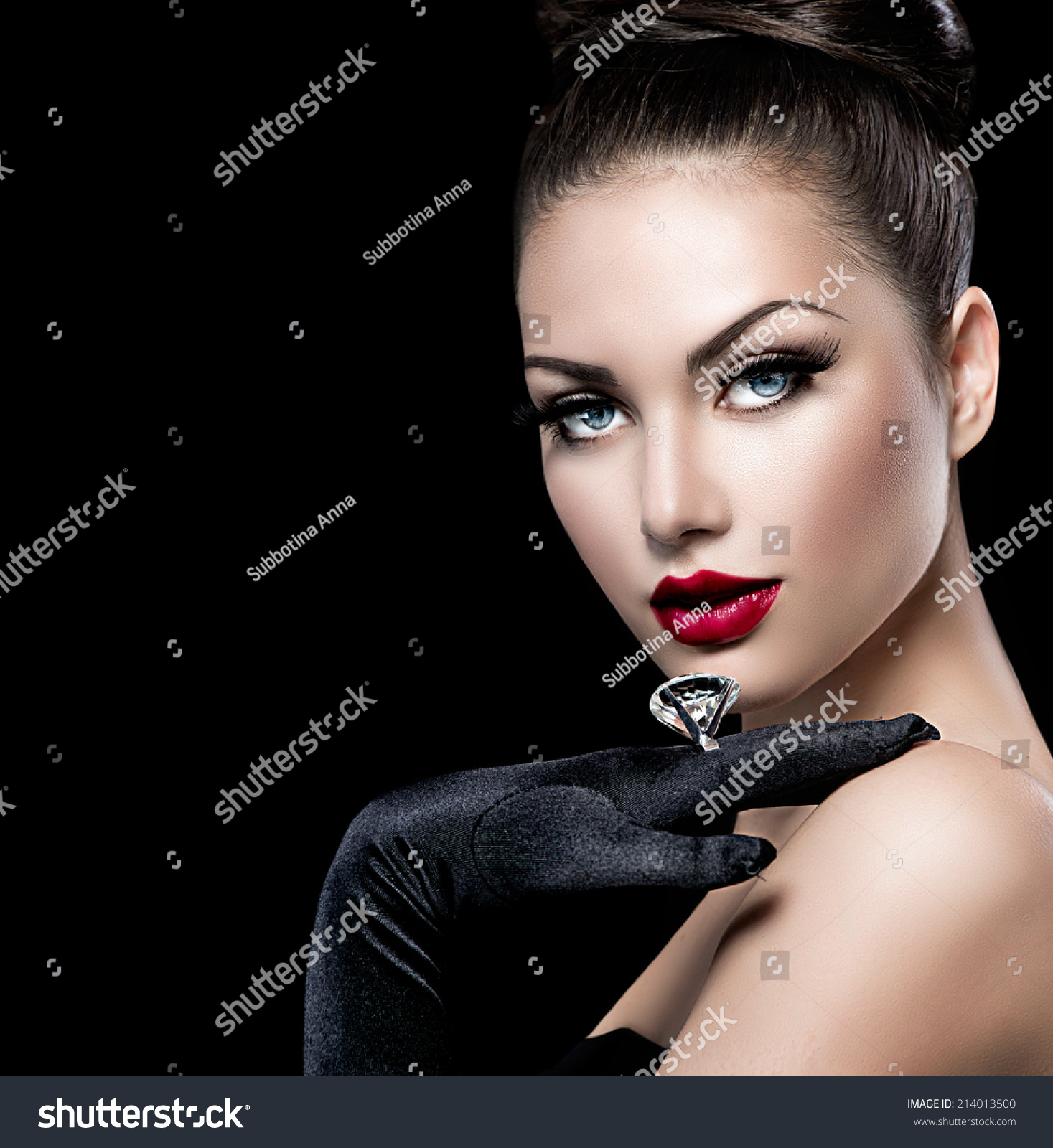 Beauty Fashion Glamour Girl Portrait Over Stock Photo