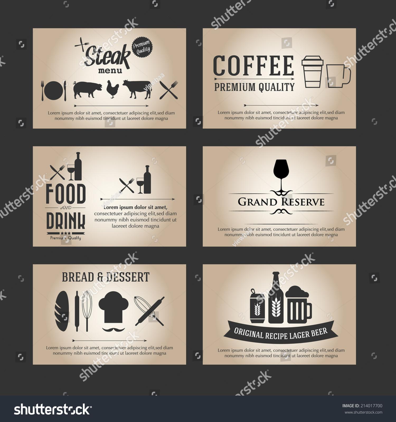 vector set business cards cafe restaurant stock vector