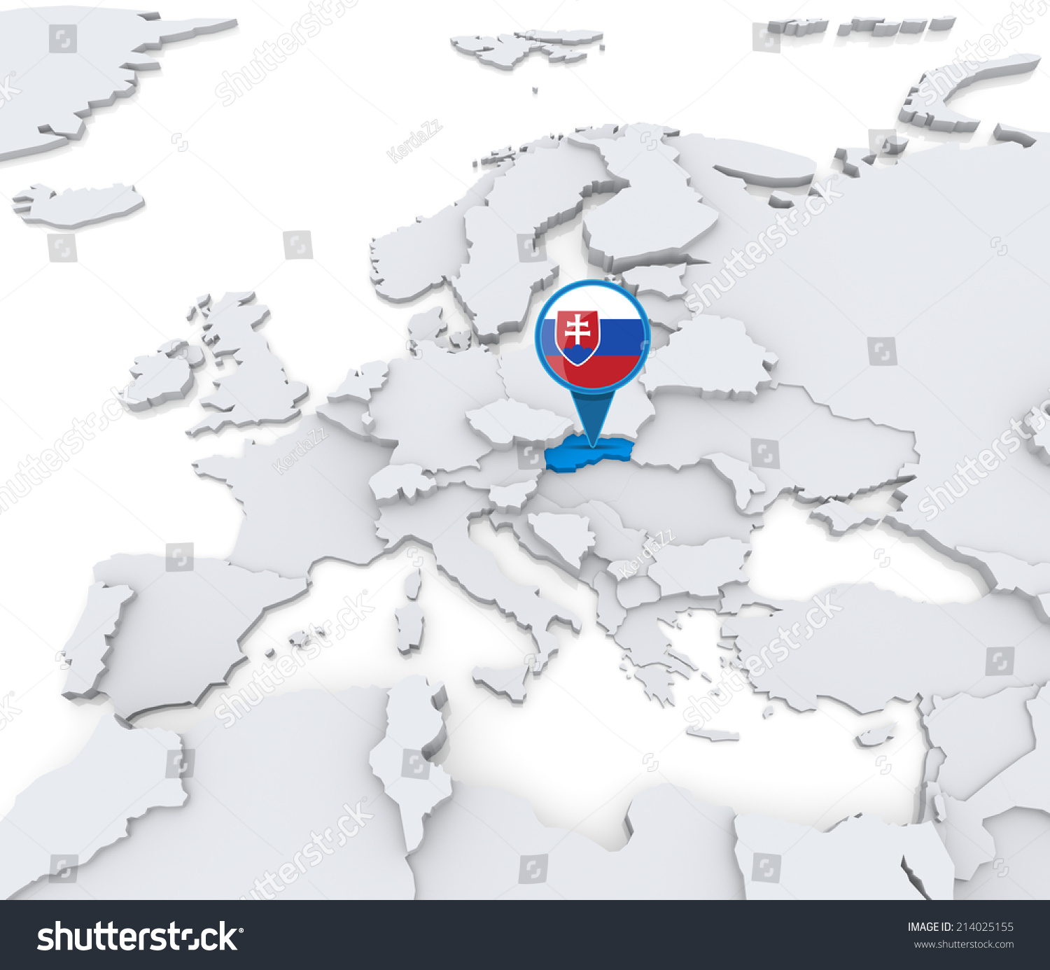 Highlighted Slovakia On Map Europe National Stock Illustration