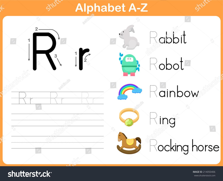 Alphabet Tracing Worksheet Writing Az Stock Vector ...