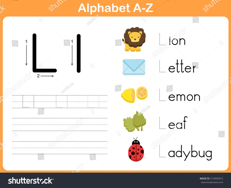 Printables Alphabet Tracing A  Z alphabet tracing worksheet writing az stock vector 214050412 a z