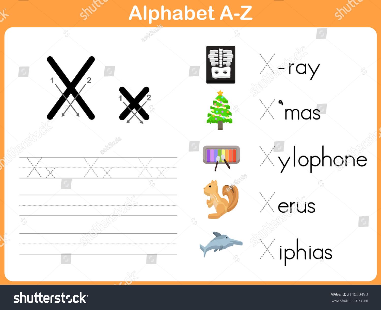 worksheet Alphabet Tracing Worksheets A-z alphabet tracing worksheet writing az stock vector 214050490 a z