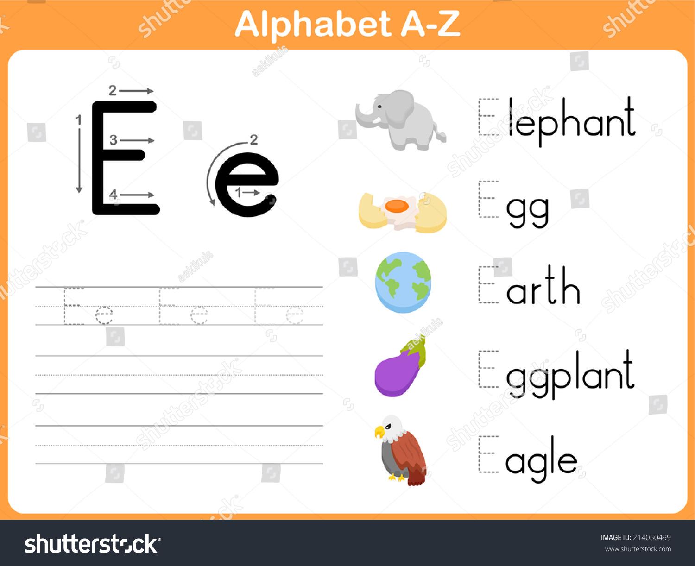 Alphabet Tracing Worksheet: Writing A-Z Stock Vector Illustration ...