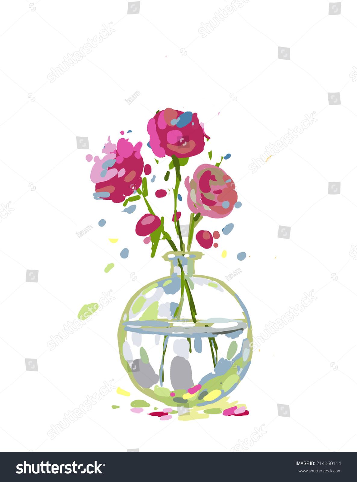 Illustration Pink Flowers Glass Vase Cartoon Stockillustration