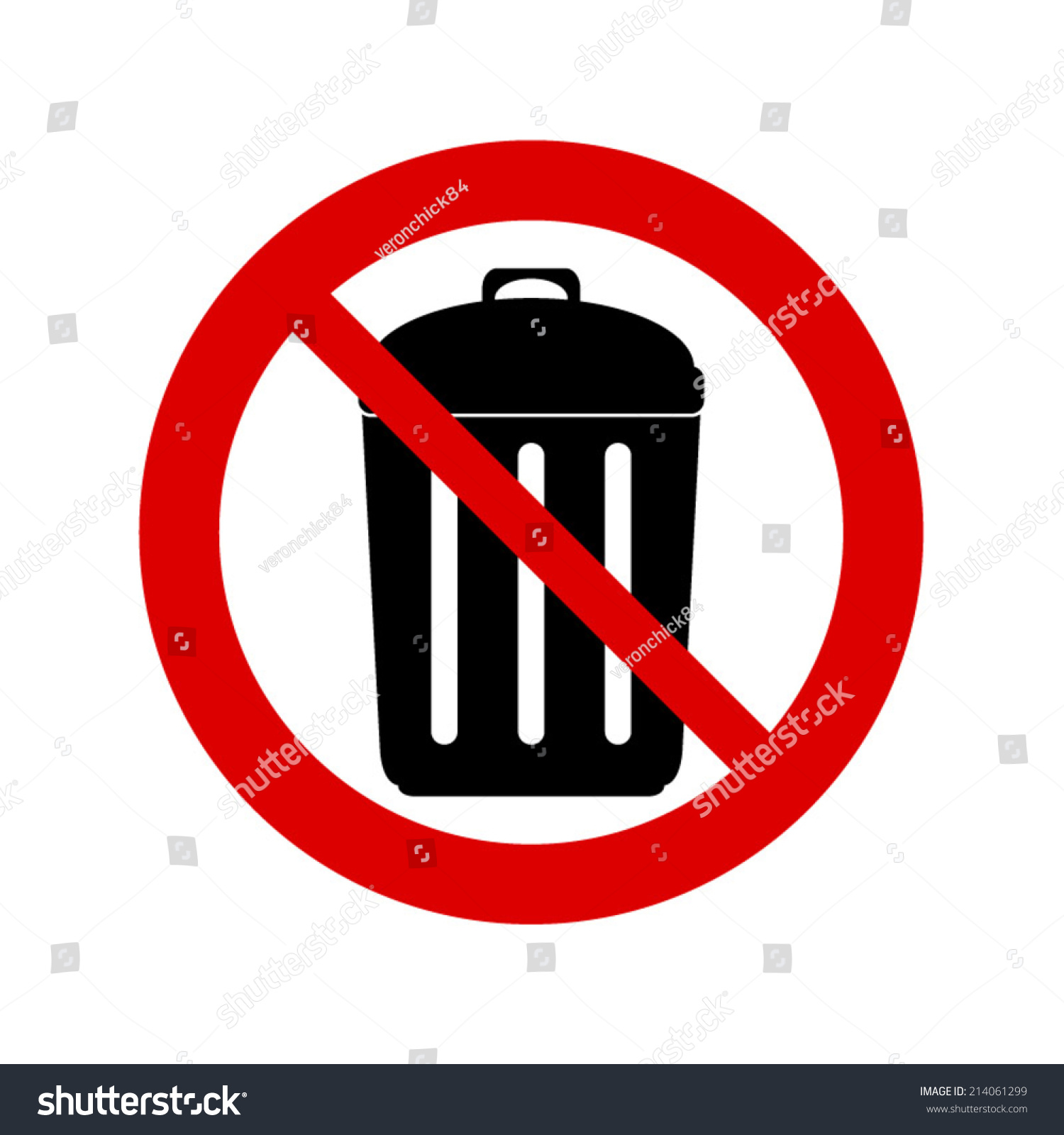 No Trash Can Sign Dont Throw Stock Vector Royalty Free 214061299