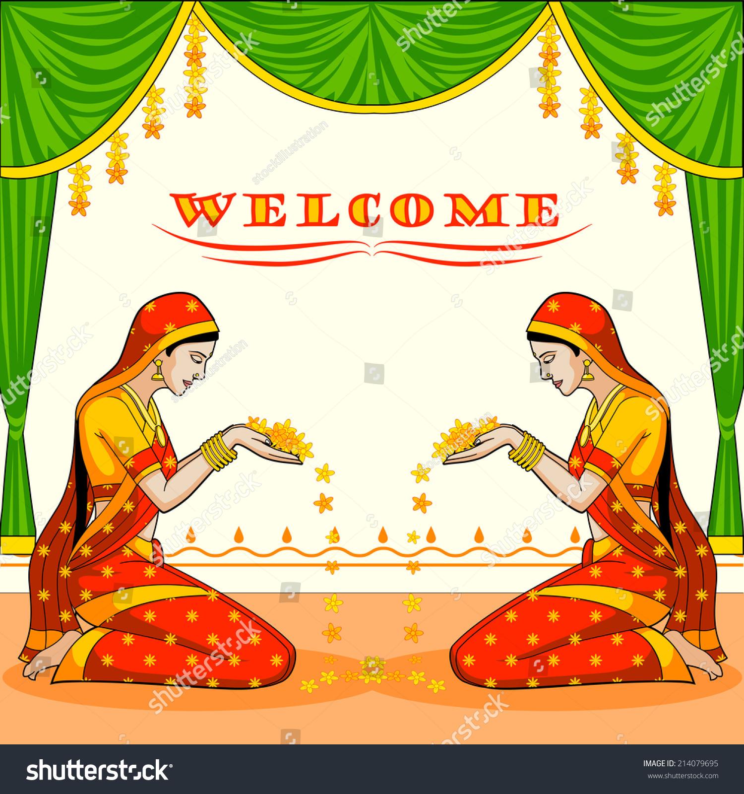 Indian Woman Welcoming Flower Vector Stock Vector ...