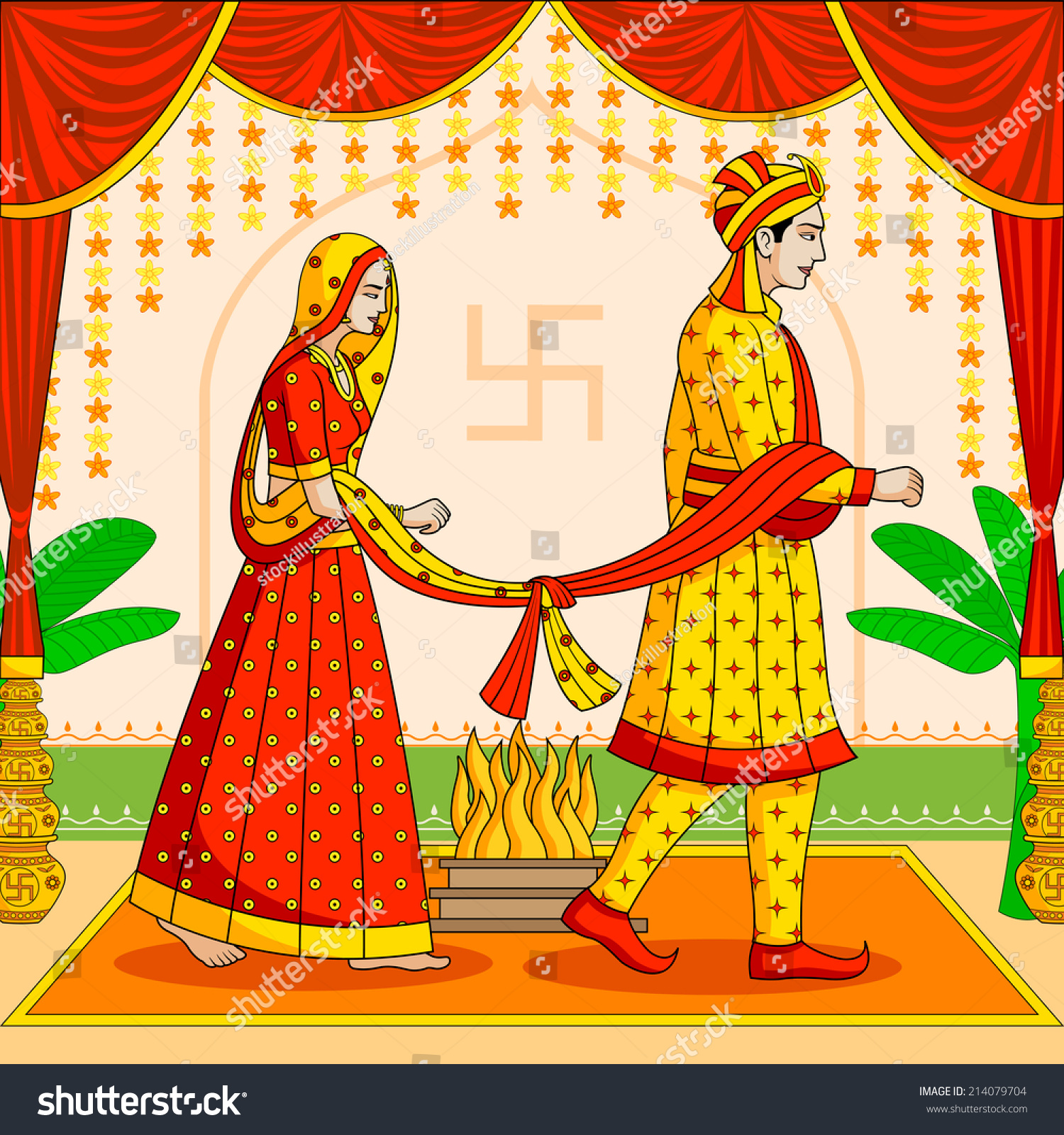 Bride Groom Indian Hindu Wedding Vector Stock Vector ...