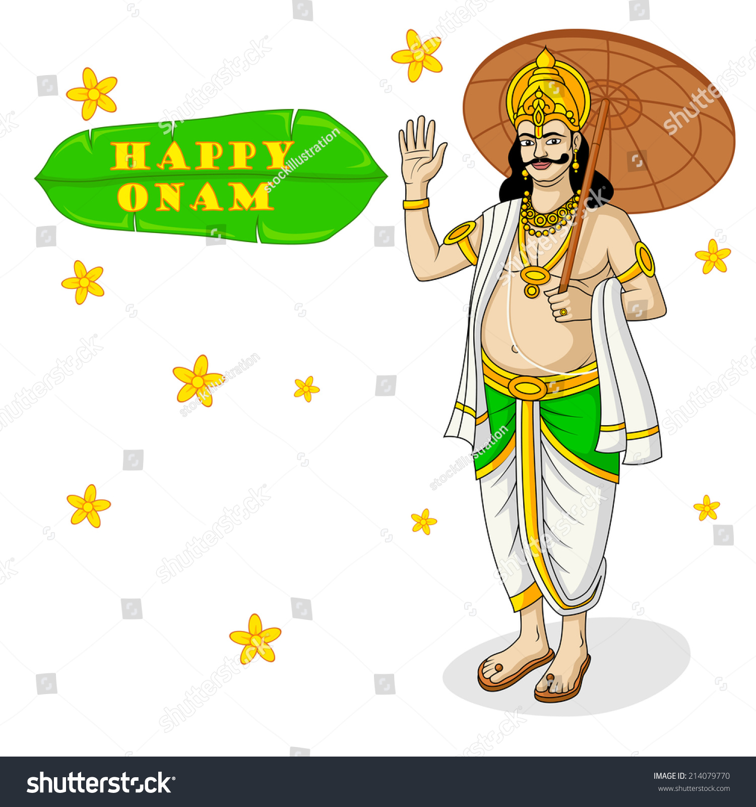 King Mahabali Onam Festival India Vector Stock Vector 214079770