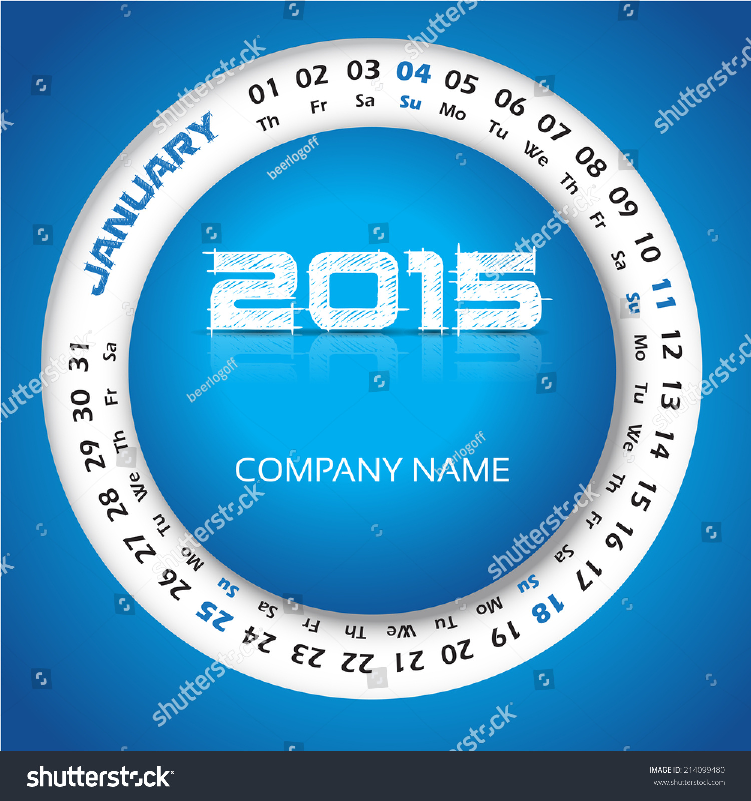 2015 year circular calendar business wall stock vector
