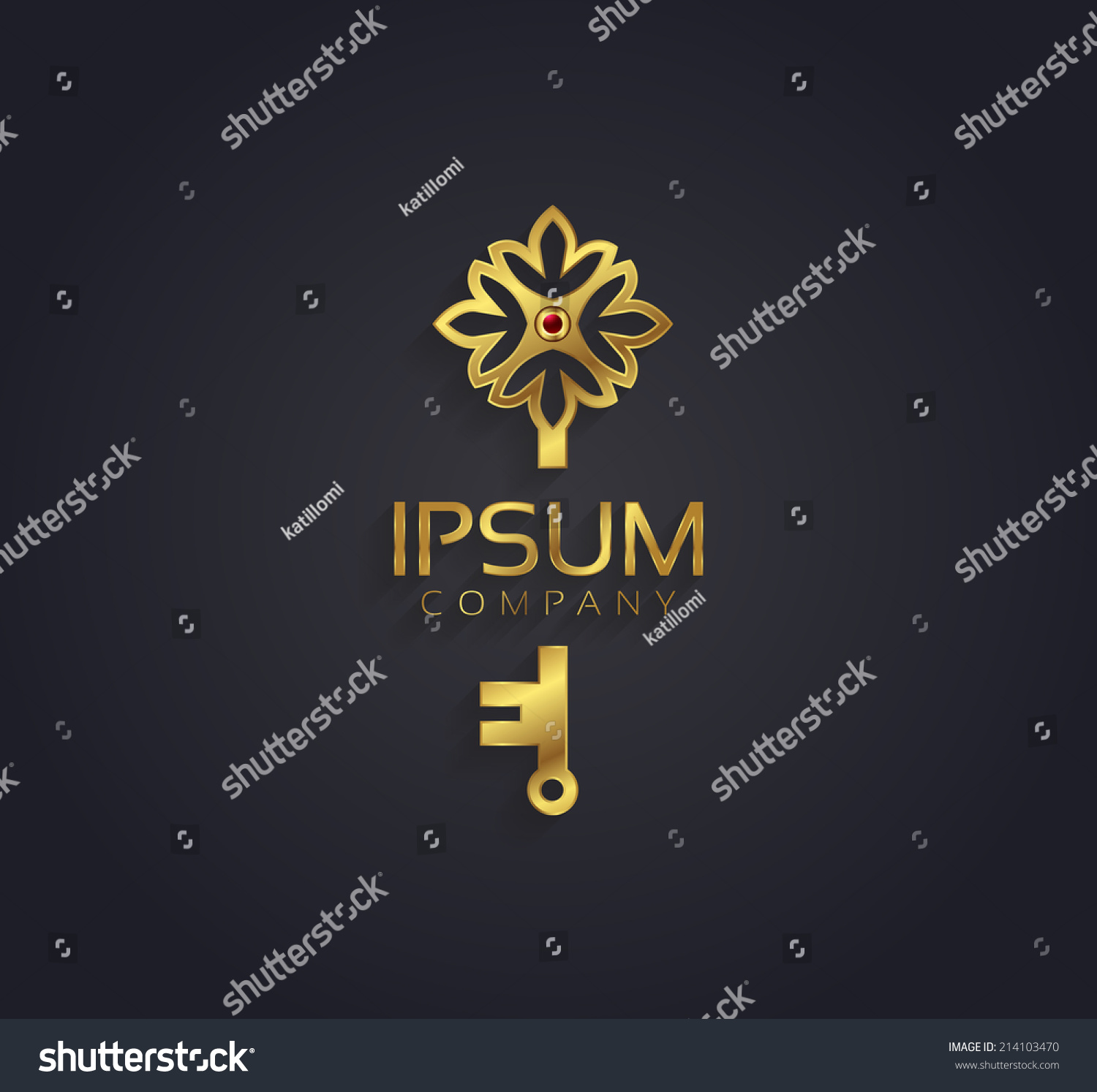 Vector Graphic Gold And Ruby Flower Key Shaped Symbol With Sample Text 21