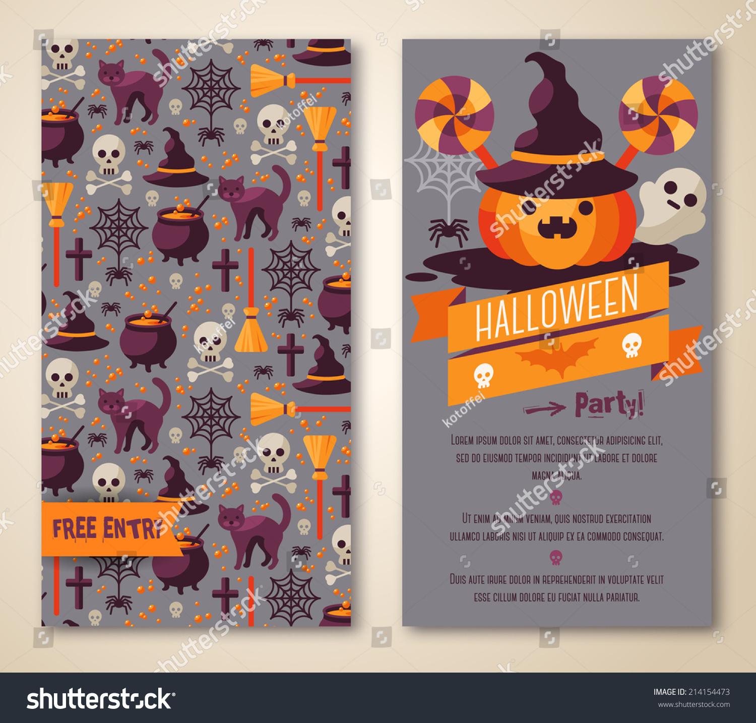 Halloween Two Sides Poster Flyer Vector Stock Vector 214154473 ...