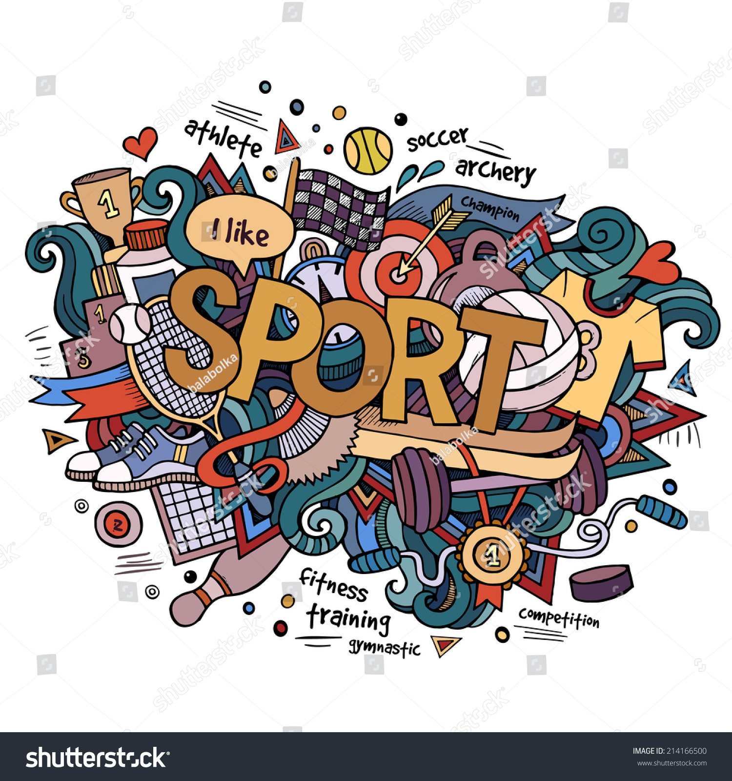 Stock vector music hand lettering and doodles elements - Sport Hand Lettering And Doodles Elements Background Vector Illustration