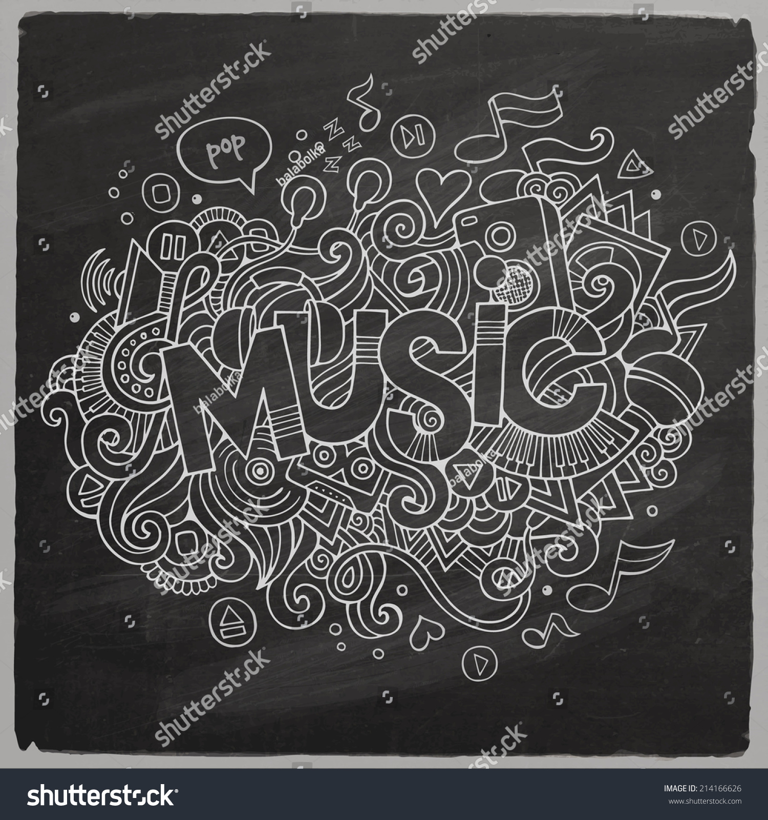 Stock vector music hand lettering and doodles elements - Music Vector Hand Lettering And Doodles Elements Chalkboard Background