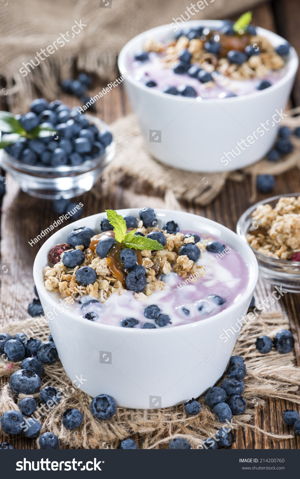 Bowl With Homemade Blueberry Yogurt And Caramel Sauce Stock Photo ...