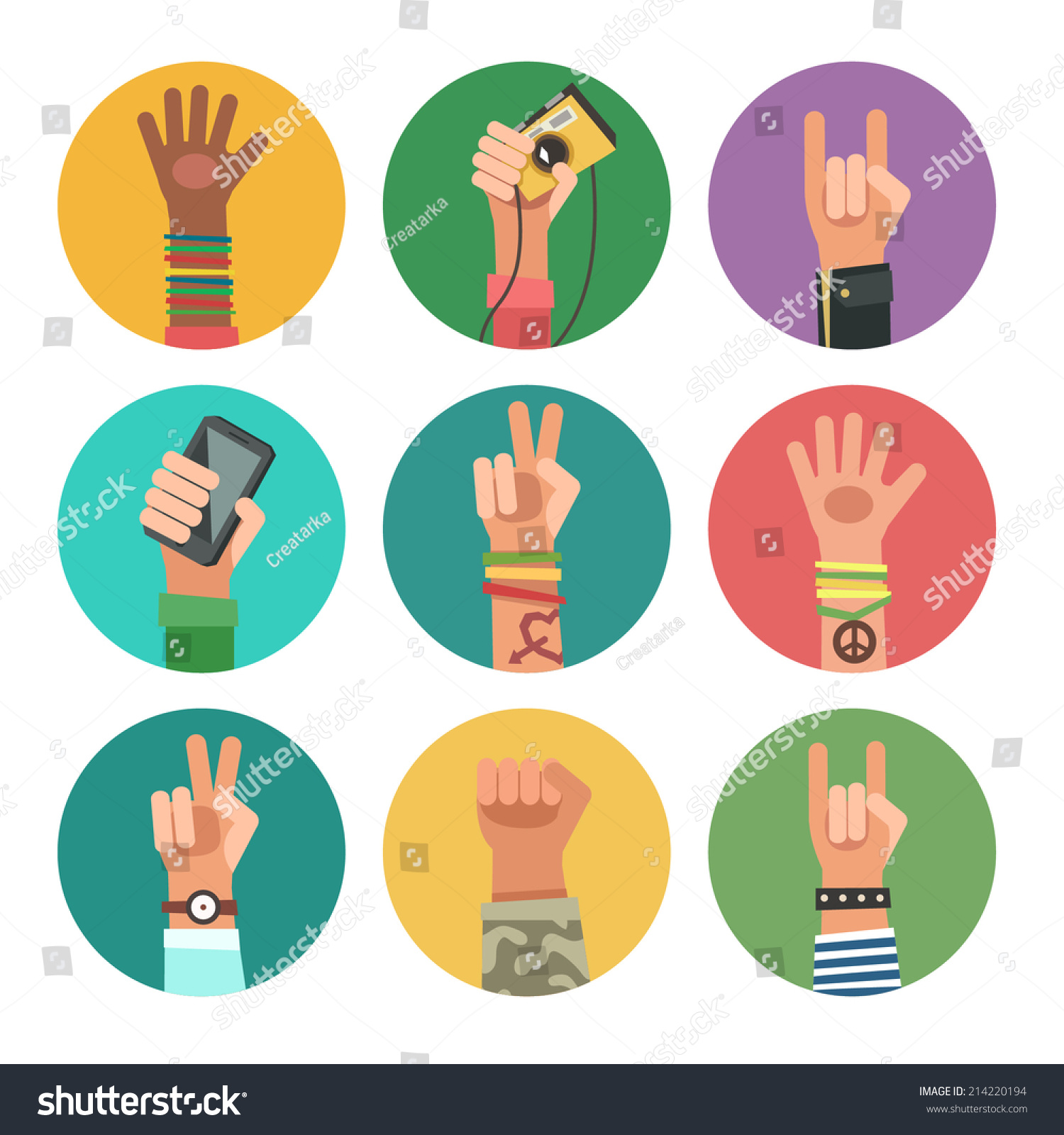 Flat Design Icons Collection Hands Different Stock Vector