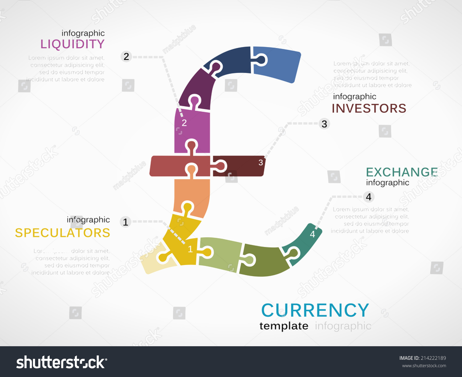 Infographic template pound sterling currency symbol stock vector infographic template with pound sterling currency symbol made out of puzzle pieces buycottarizona Choice Image