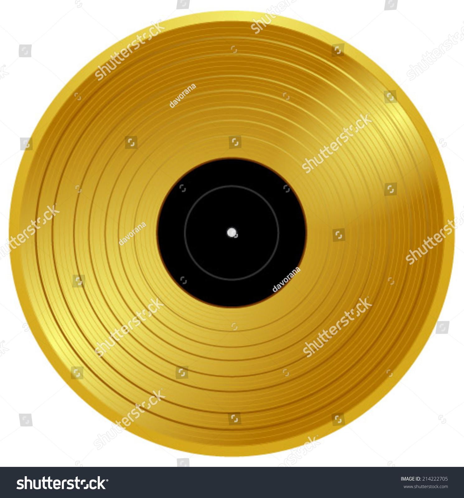 Gold Vinyl Music Award Golden Record Stock-Vektorgrafik (Lizenzfrei ...