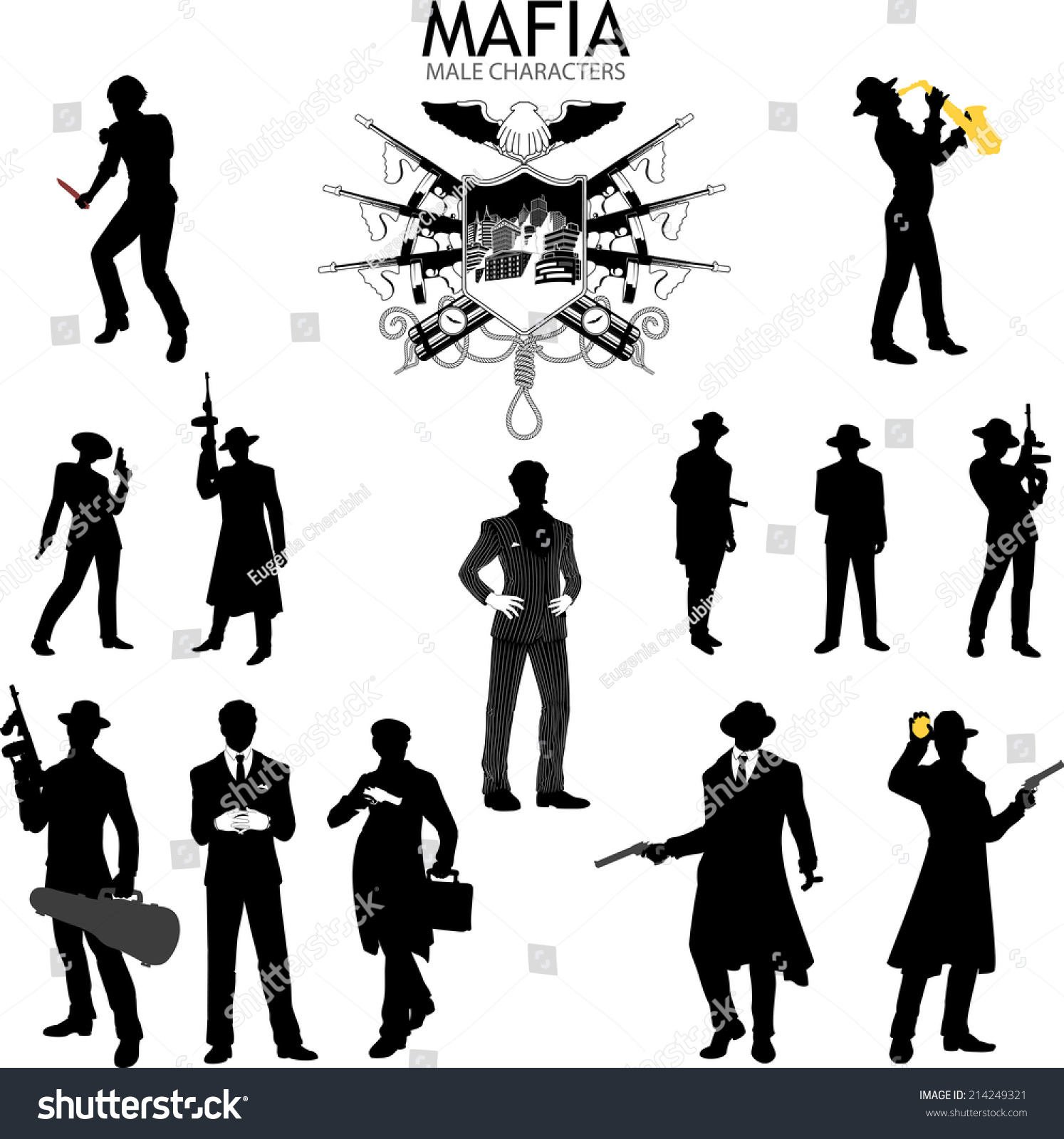 Royalty-free Set of male silhouettes retro 1930s… #214249321 Stock ...