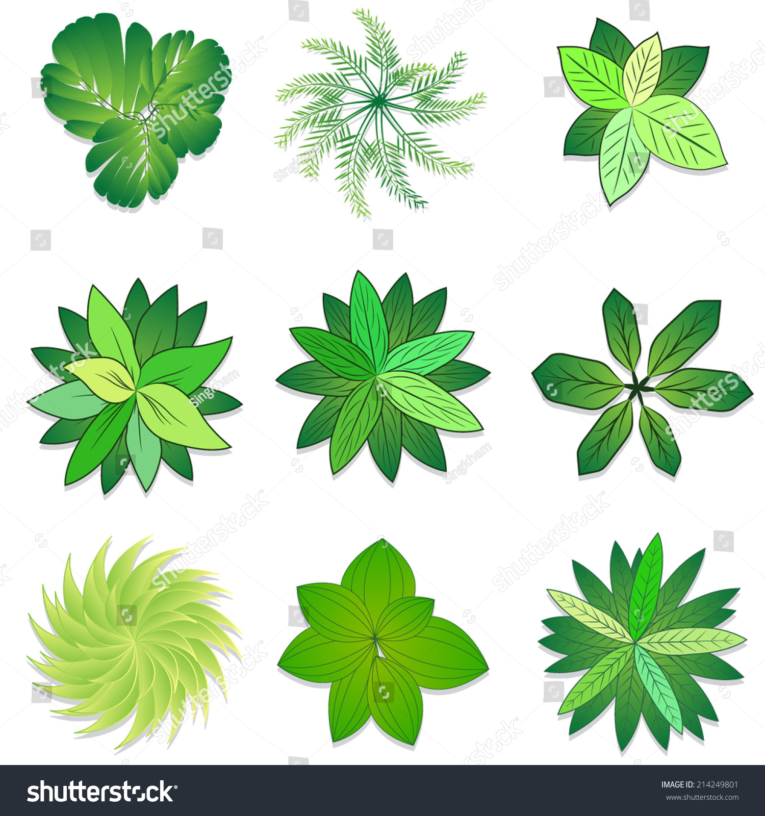 Trees Plant Flower Item Top View Stock Vector 214249801 - Shutterstock for Plant Top View Vector  565ane