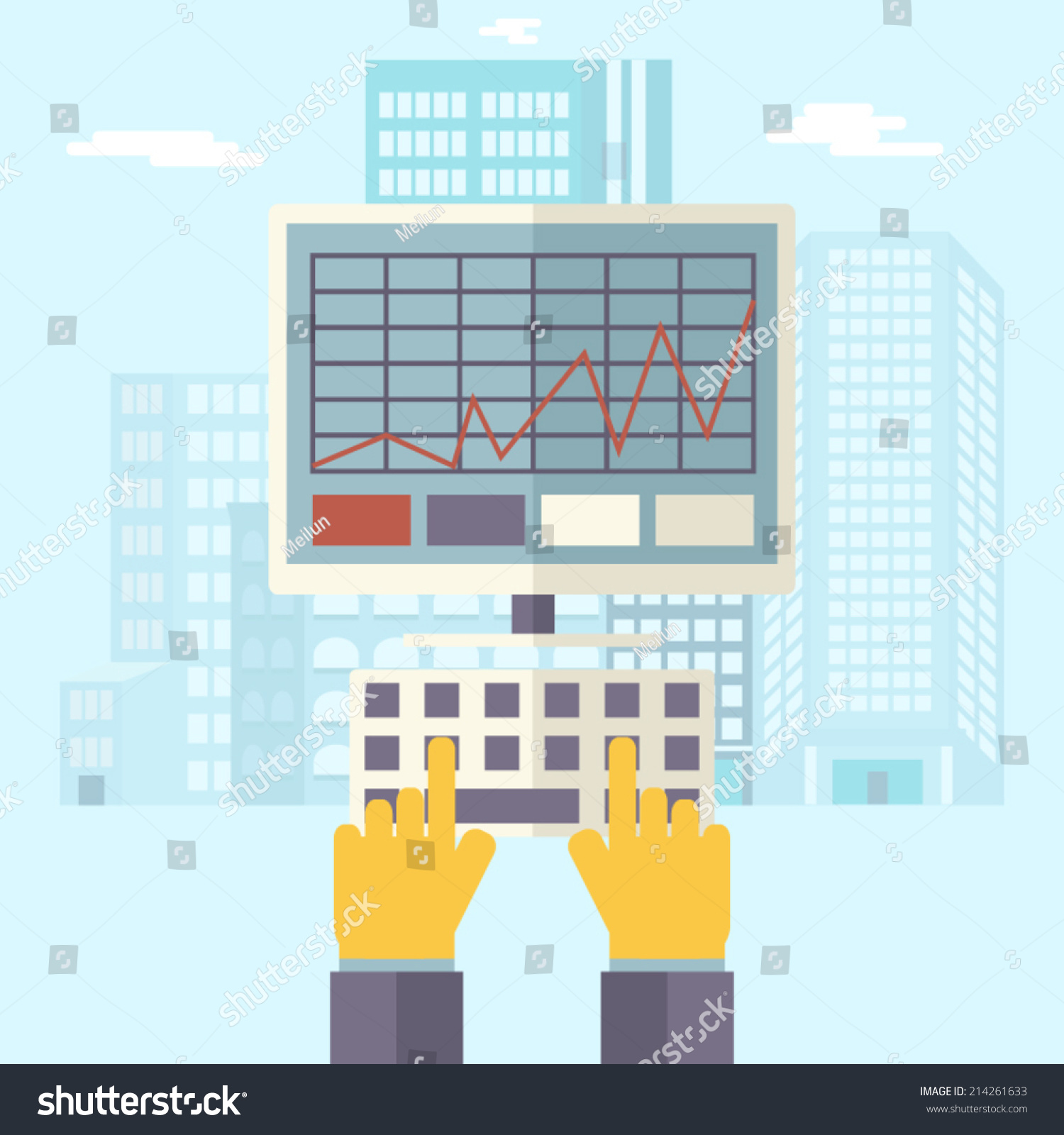 Retro business hands keyboard pc monitor stock vector 214261633 retro business hands keyboard and pc monitor with financial infographics symbol real estate city trendy modern biocorpaavc Images
