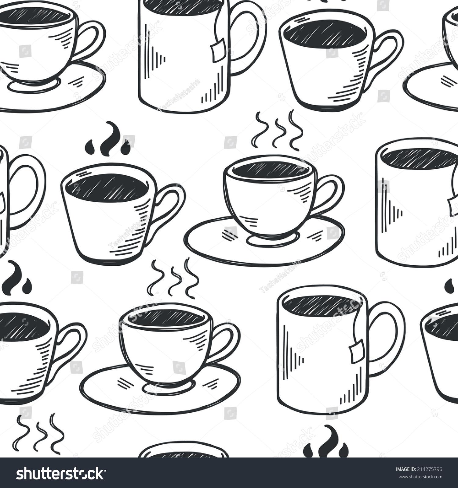 Seamless Pattern Hand Drawn Sketchy Tea Stock Vector Royalty Free