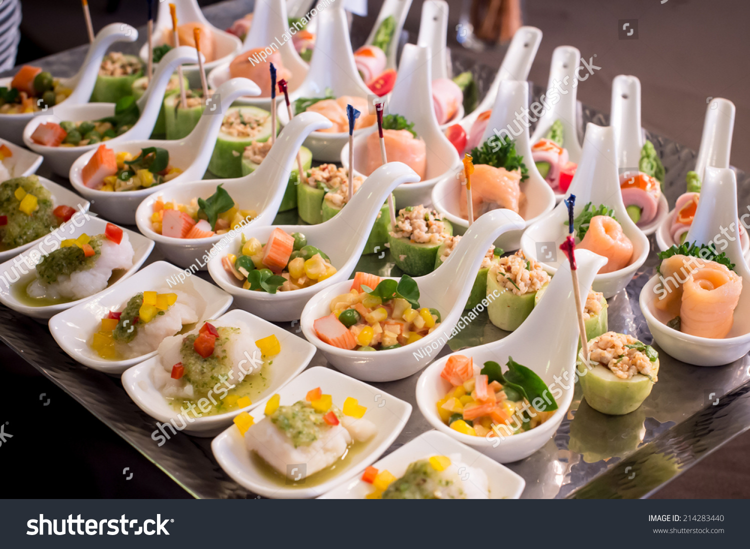 Canapes on toothpicks appetizer pinchos spanish stock for Canape buffet menus