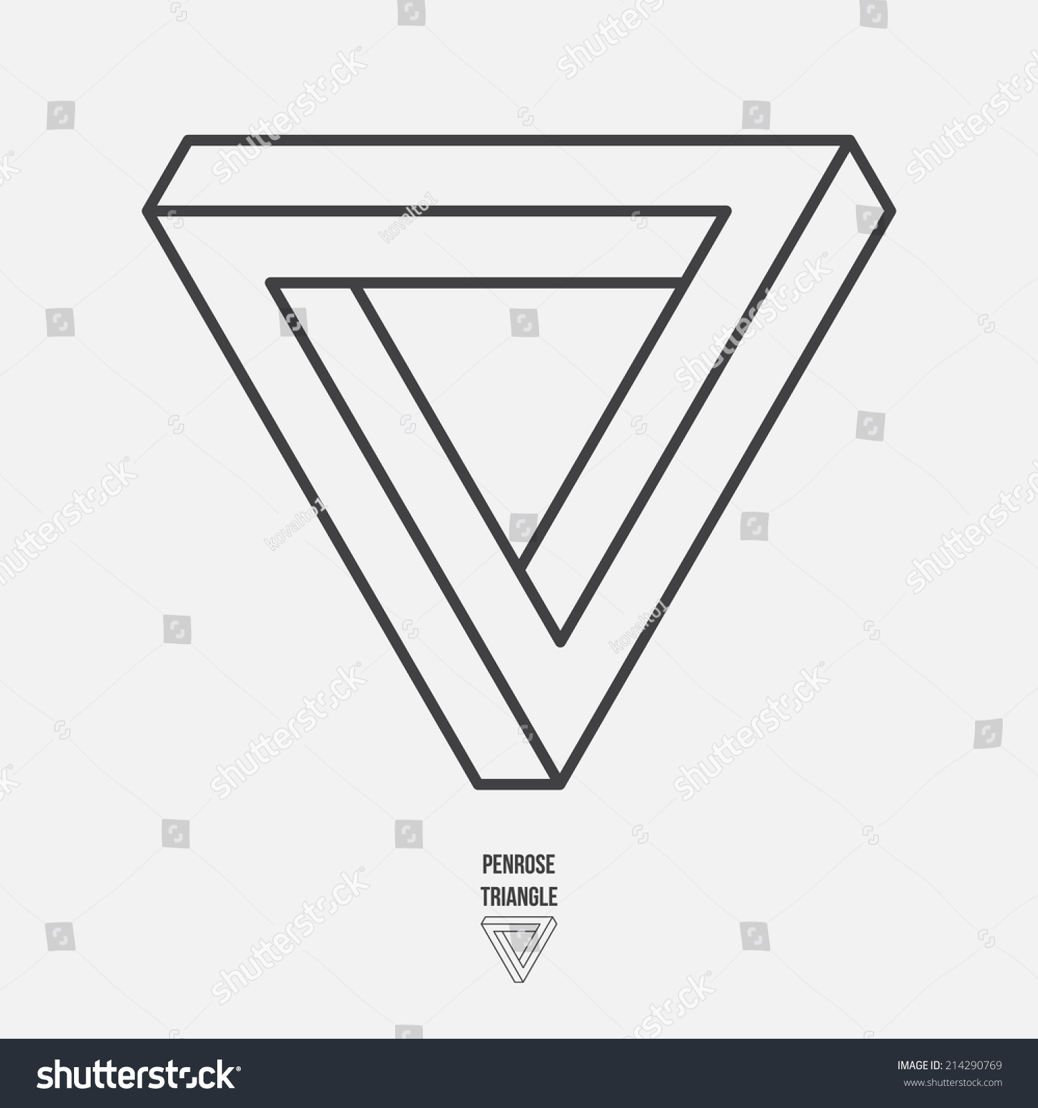 penrose triangle line design vector illustration のベクター画像素材