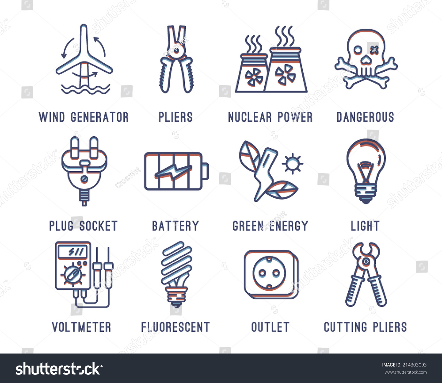 Set of icons on the theme of electricity.Wind generator battery green energy  sc 1 st  Shutterstock & Set Icons On Theme Electricitywind Generator Stock Vector ... azcodes.com