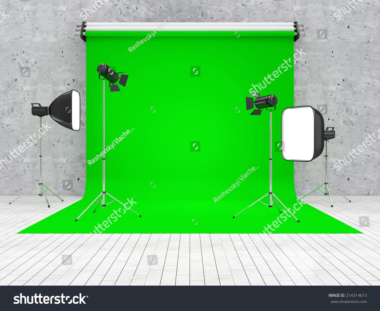 interior modern studio green screen equipment stock illustration 214314613 shutterstock. Black Bedroom Furniture Sets. Home Design Ideas