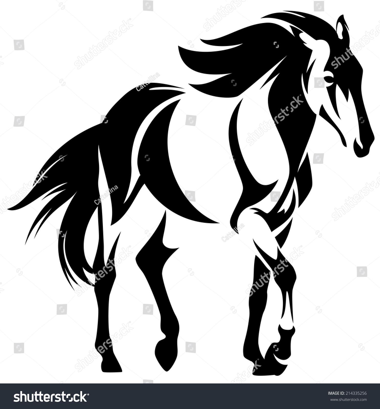 wild horse black white outline mustang stock vector 214335256