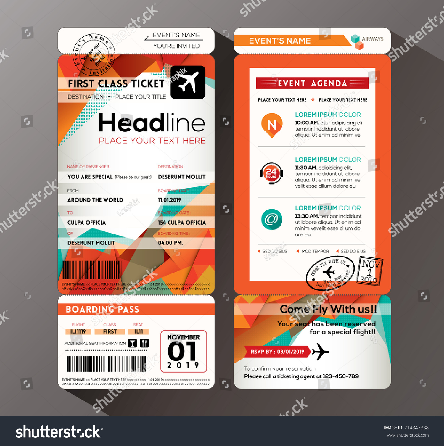 Modern Design Boarding Pass Ticket Event Vector 214343338 – Ticket Design Template