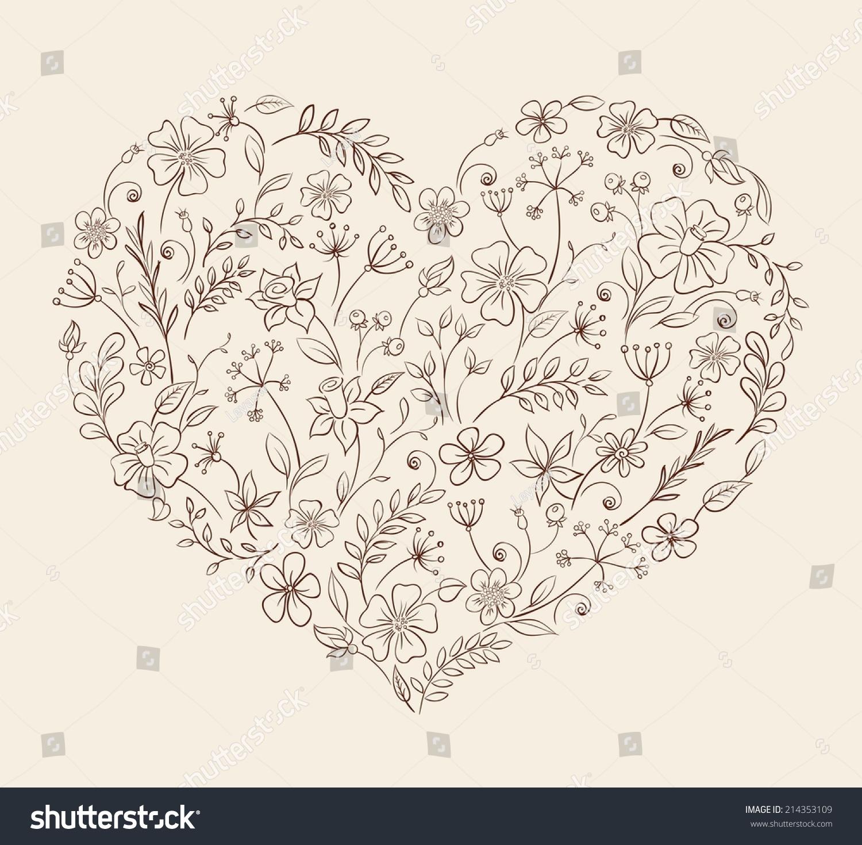 heart flower pattern vector stock vector   shutterstock, Beautiful flower