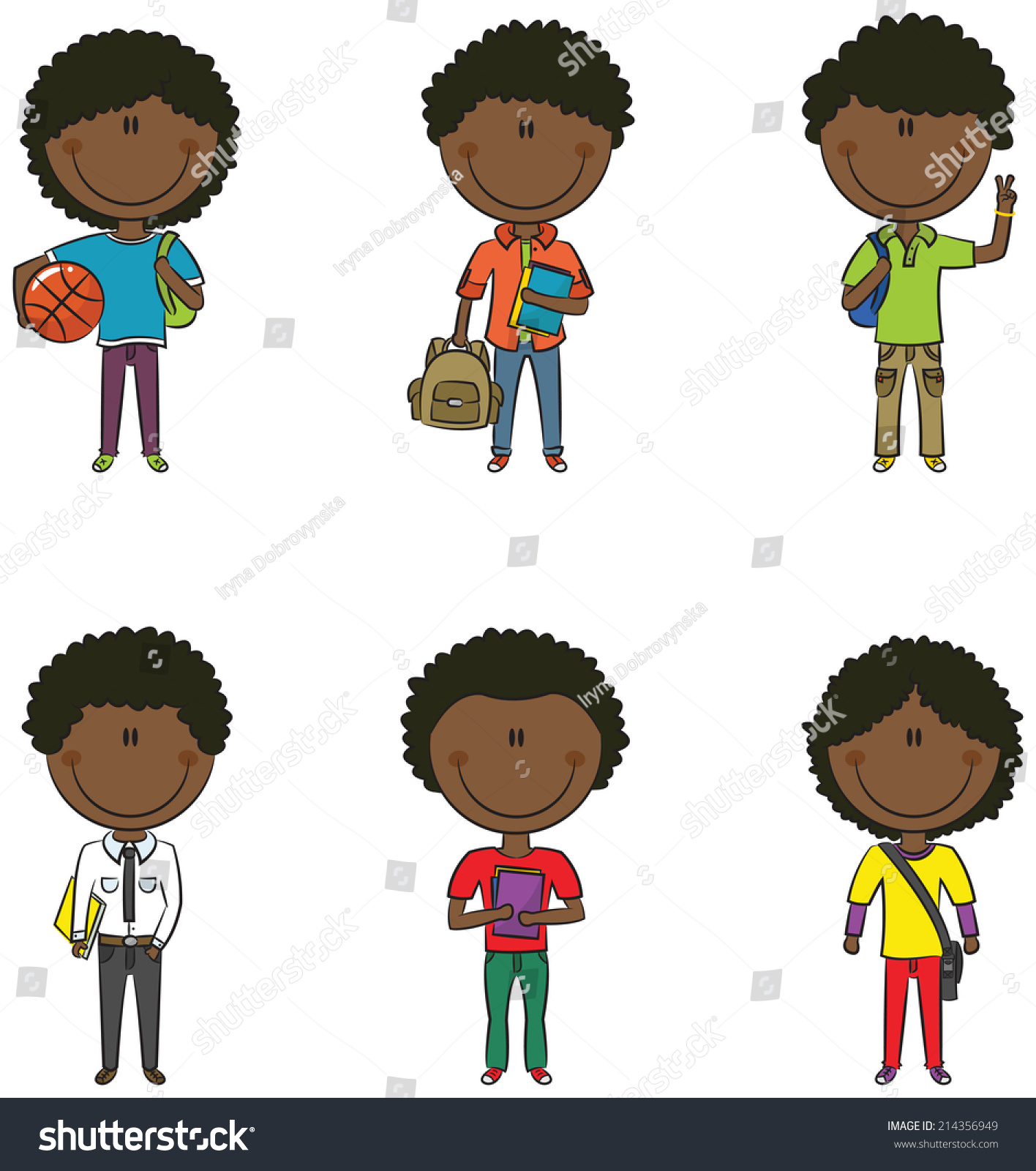 Cute smart african american school boys with different objects
