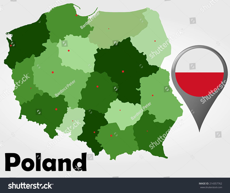 Poland Political Map Green Shades Map Stock Vector - Poland political map