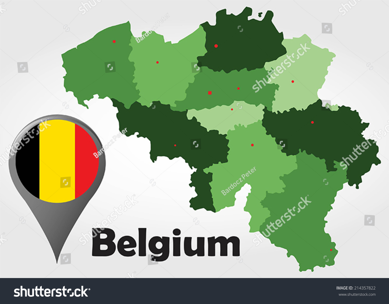 Belgium Political Map Green Shades Map Vector 214357822 – Belgium Political Map