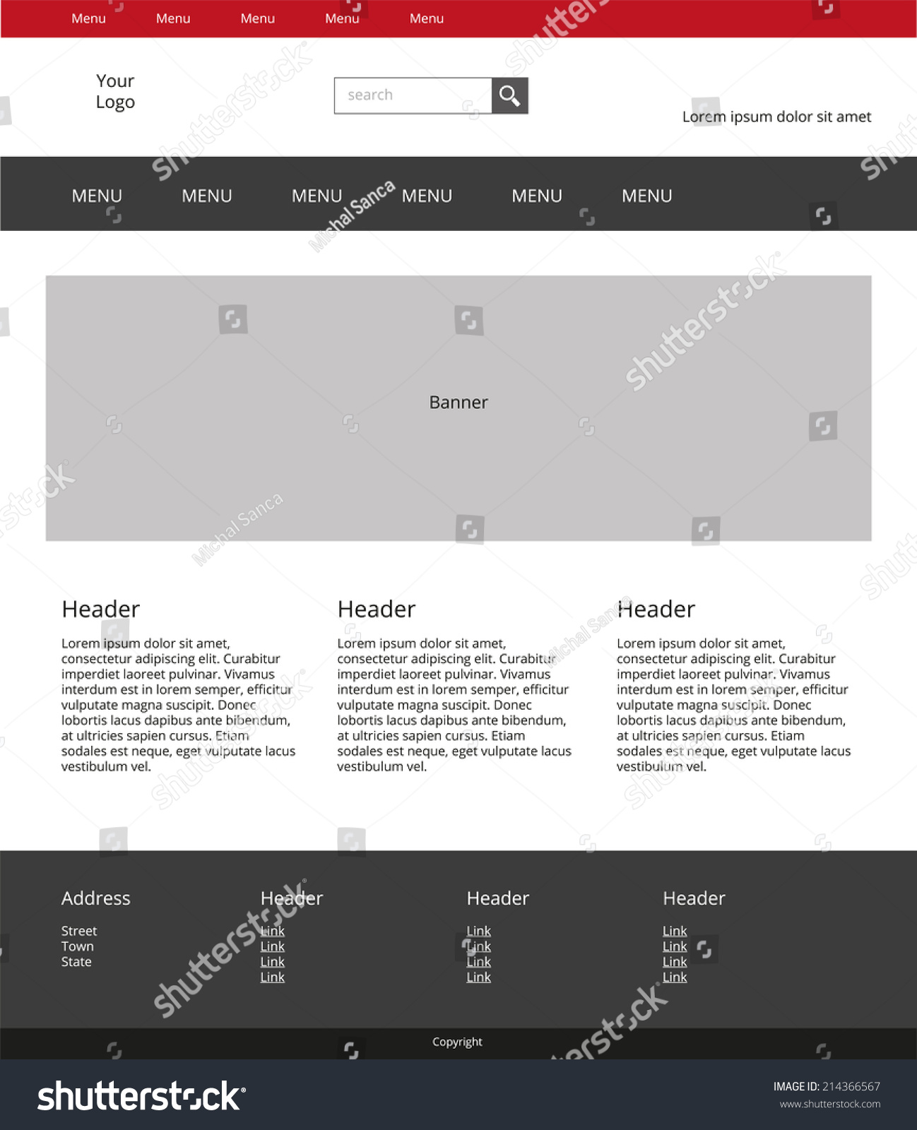 Website Design Template Simple Landing Page Stock Vector (Royalty ...
