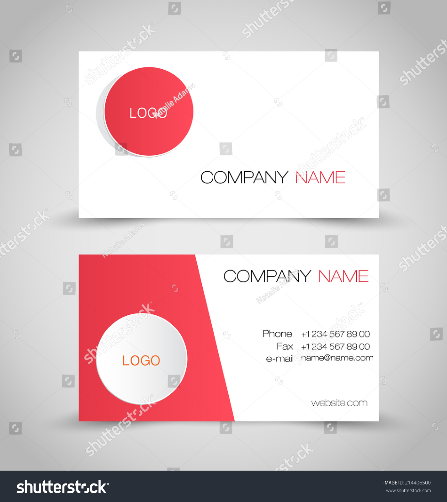 business card set template red white stock vector