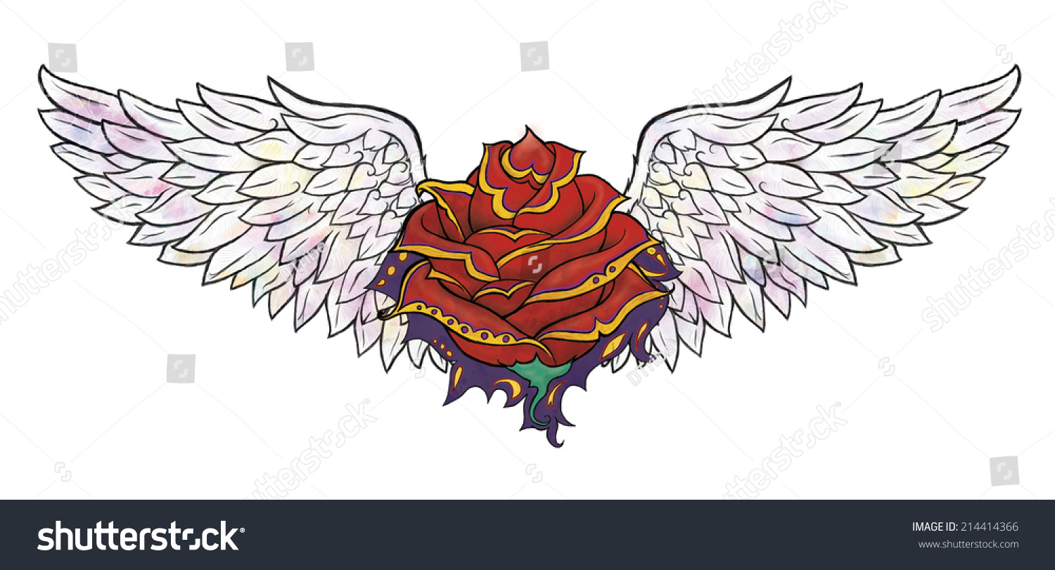 Rose Tattoo Angels Wing Stock Illustration 214414366 Shutterstock