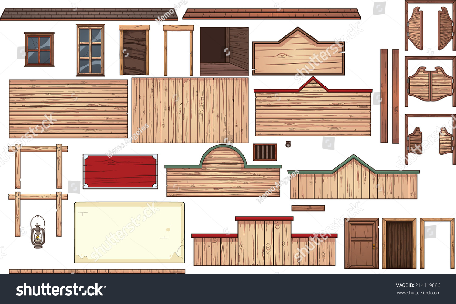 Old West Town Elements Vector Clip Stock Vector 214419886 ...