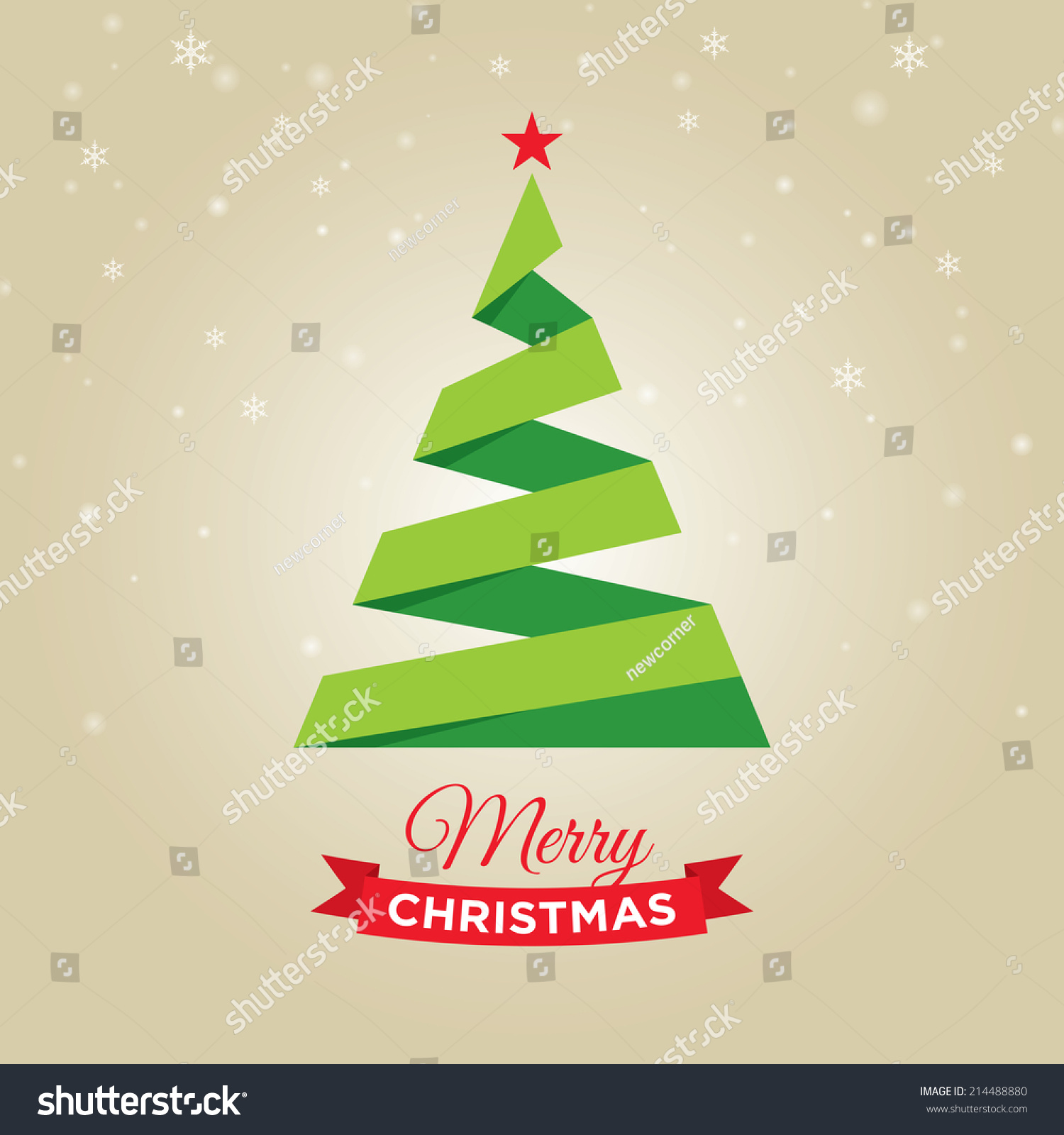 Merry Christmas Card Graphic Christmas Tree Stock Vector Royalty